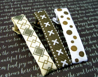 Ribbon Hair Clips, Clips for Fine Hair, Baby Barrettes, Alligator Clips for Toddlers, Hair Accessories, Girls Gift Set, Argyle, Polka Dots