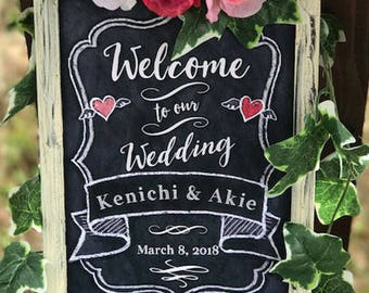Framed Wedding Chalkboard Sign Print - A4, Shabby-chic chalkboard sign