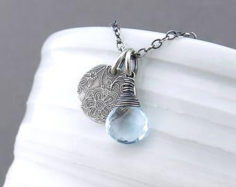 Dainty Blue Necklace Blue Topaz Necklace Gemstone Pendant Necklace Gemstone Jewelry Bohemian Jewelry - Solo