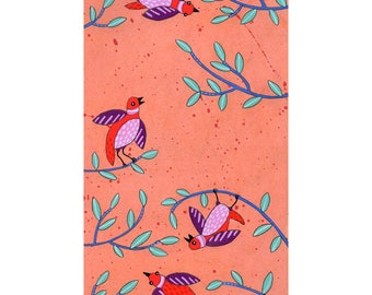 Birds - original small acryclic painting / illustration on paper