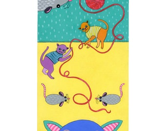 Cats & Mice - original small acryclic painting / illustration on paper