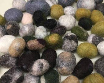 100% wool felted stones, set of 8