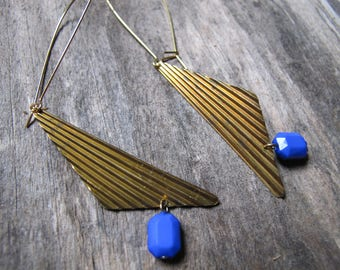 80s Triangle Earrings Brass Aged Charm Dangles Blue Lucite Gemstone Bead