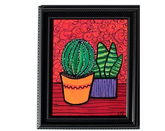 Succulent Still Life - Cactus and Haworthia - Original Succulent Art for Dining Room, Living Room, or Bedroom - Green and Red Painting