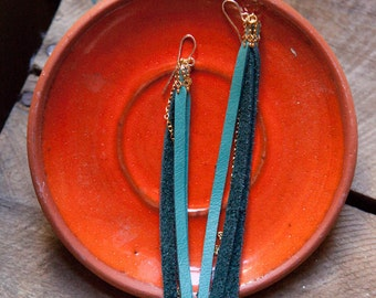 leather earrings - golden tan leather tassel and chain
