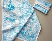 Tropical Island Treasure Map Hankie screenprinted cotton handkerchief