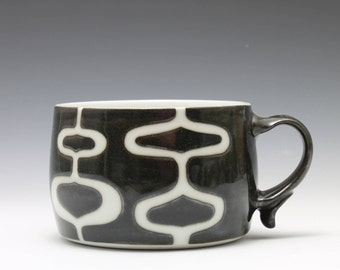 Black and White Pattern Porcelain Soup Chili Mug