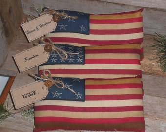 Set of 3 - Patriotic Primitive Rustic Americana July 4 Flag Bowl Fillers Ornies Ornaments - USA - Stars and Stripes - Freedom Flags