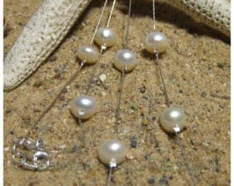 """40"""" Long White Freshwater Pearl Tin Cup Sterling Silver Mermaid Necklace/Bracelet 5X"""