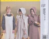 McCalls M7231 Girl's Pioneer Costume Dress Bonnet Pinafore Apron UNCUT Sewing Pattern