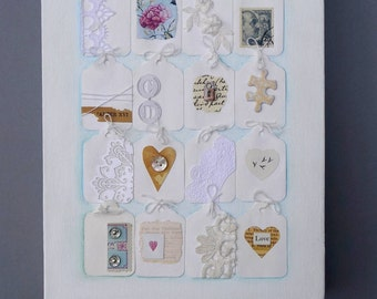 Mixed media original wall art, recycled collage on small canvas. White with luggage tags, romantic, pale colors