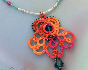 Easy on necklace set bright colors handmade tatting lace pendant beaded cord stretchy no clasp with earrings included