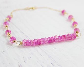 Pink Moonstone Bracelet, Gold Gemstone Bracelet, Beaded Stone Bracelet, Hot Pink Bracelet, Rainbow Moonstone Bracelet, Bar Bracelet