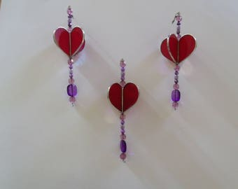 One Stained Glass Heart Sun Catcher, Red 3D Heart with Beads