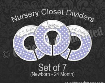 Purple Hearts Nursery Closet Dividers, Baby Closet Dividers, Baby Clothes Organizers, Baby Shower Gift, Baby Girl Gift