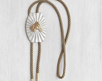 Vintage Horse Bolo Tie - silvertone with brass horse head and faux bullet tips - Western unisex shoestring necktie