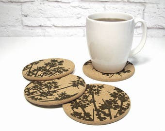 LACEFLOWER Floral Design Round Cork Coasters Hostess Gift Home Decor