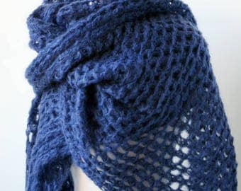 Vivienne Mohair Blend Hand Knit Wrap in BLUE, Chunky, Oversized, Mega, Scarf, Shawl, Warm, Winter, City, Large, Light, Navy, Sapphire