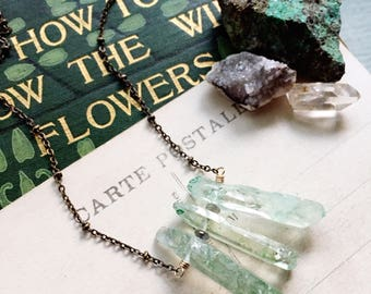 M e a d o w...Green raw crystal dagger points, labradorite, energy, chakra, boho, love, gold, brass necklace, mixed metal necklace RESERVED