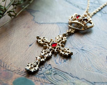 The Crown Jewelry Necklace with Gold Vintage Cross / Her Majesty Crown Necklace / Gold Crucifix / Jeweled Crown / Ruby Red Crown