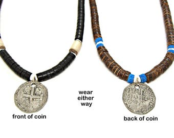 SALE Necklace Graduated Coco Beads with Pieces of Eight Replica Spanish Coin Doubloon Pirate 18 to 19 inches 7015