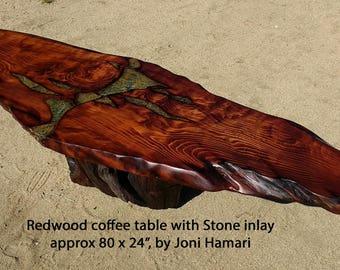 Redwood Burl Coffee Table with Stone inlay, Redwood Root base, live edge wood slab, by Joni Hamari