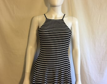 90s Ribbed black white striped short Dress