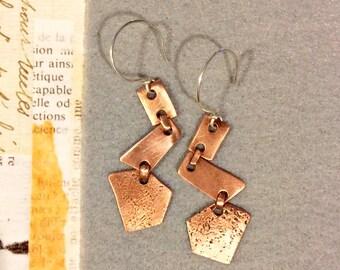 Copper Zig Zag Dangle Earrings
