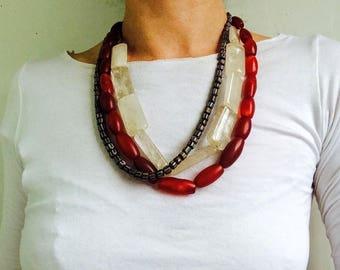 Trio of Antique Carnelian, Quartz and Glass Chevron Trade Bead Necklaces . Nepalese/Tibetan. Tribal. Beautiful!!