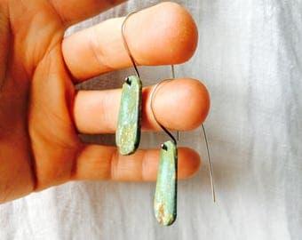 Santo Domingo Pueblo Turquoise Stone Slab Earrings. Native American