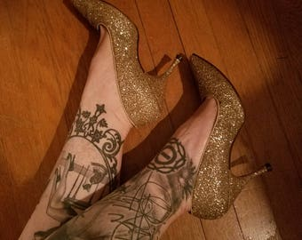 Vintage 1950's Gold Glitter High Heels, Size 7 1/2, Christmas New Years Cocktail Party