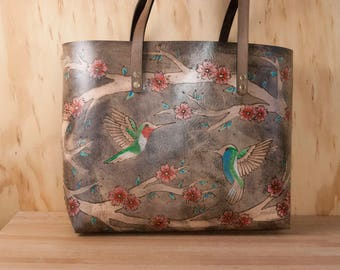 Large Leather Laptop Tote - Handmade Oversize Purse with Hummingbirds and Cherry Blossoms - May Pattern in Pink, Turquoise, Antique black