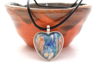 Heart Made with Paint Pendant in Blue and Orange