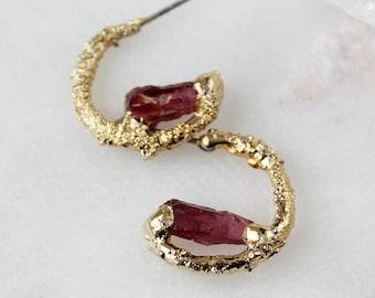 garnet hoops, garnet earrings, raw garnet, gold earrings, gold hoops, january birthstone, gifts for her