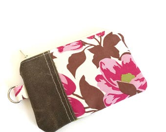 Change Purse No. 1 in Pink English Rose and Waxed Canvas