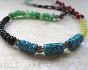 Long necklace mixed beads and gemstones bright colorful Many Treasures