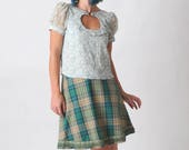 Green plaid skirt, short flared skirt with fringes, Womens skirts, Womens clothing, Green checkered skirt, Fall fashion, MALAM, size UK 10