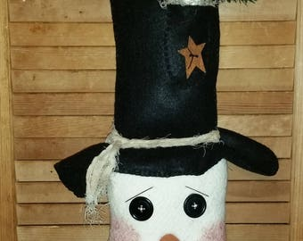 Large Snowman | Top Hat With White Mouse | Door Wall Hanger | Christmas Decoration | Winter Decor