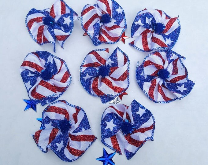 Collar Bows, Large Dog Bows - Independence Day, 4th of July, Red White & Blue, Military, USA - 8 bows 2""