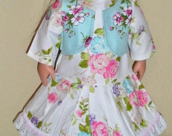 Flowered Dress w/Vest---doll dress---Girl doll clothes