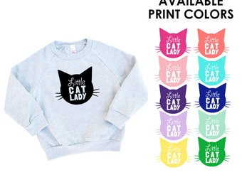 Little Cat Lady Kids Heather Grey Sweatshirt - Family Photos, Meow, Expecting, Matching, Mommy and Me, Cute Girl Gift, Kitty Cat