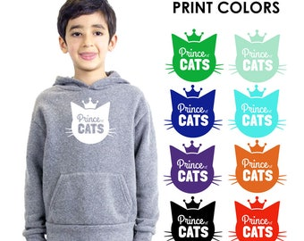 Prince of Cats Toddler Kids Heather Grey Hoodie Sweatshirt - Gift for Boy, Cat Lover, Meow, Animal, Kitty, Future Veterinarian, Cat Lady