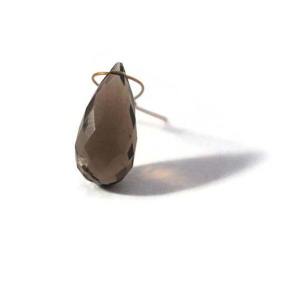 Natural Smoky Quartz Bead, Elongated Quartz Briolette, Focal Gemstone for Jewelry Making, 15mm x 7mm (B-Sq2b)