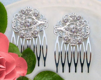 Small wedding hair combs, crystal bridal clips, Bridesmaids hair, Bridesmaid Gifts, Silver Rhinestone, Bridal Hair Barrette, Bridal comb set