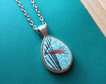 Broken Dishware Teardrop Necklace