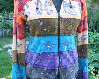 Nepal Napalese hoodie rainbow tie dye block print cotton sweatshirt Medium