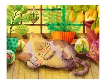 Cat Nap - Cute Cat Print Cat Lady Art Cat Art Print Cat Illustration Greenhouse Cat Art Sleeping cat print Cat lover gift Kid wall art