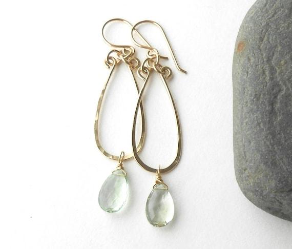 Green Amethyst Earrings, Hammered Gold Dangle Earrings, Gold Filled Earrings, Wire Work Jewelry
