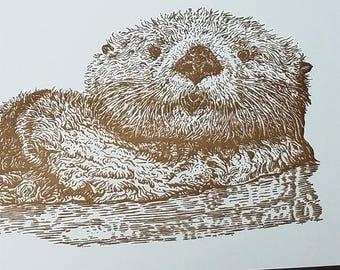 Sea Otter Notebook Letterpress Printed Cover Original Illustration