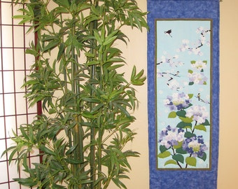 Quilted Wall Hanging Hydrangeas and Birds Japanese Asian Design Tenugui Scroll Size